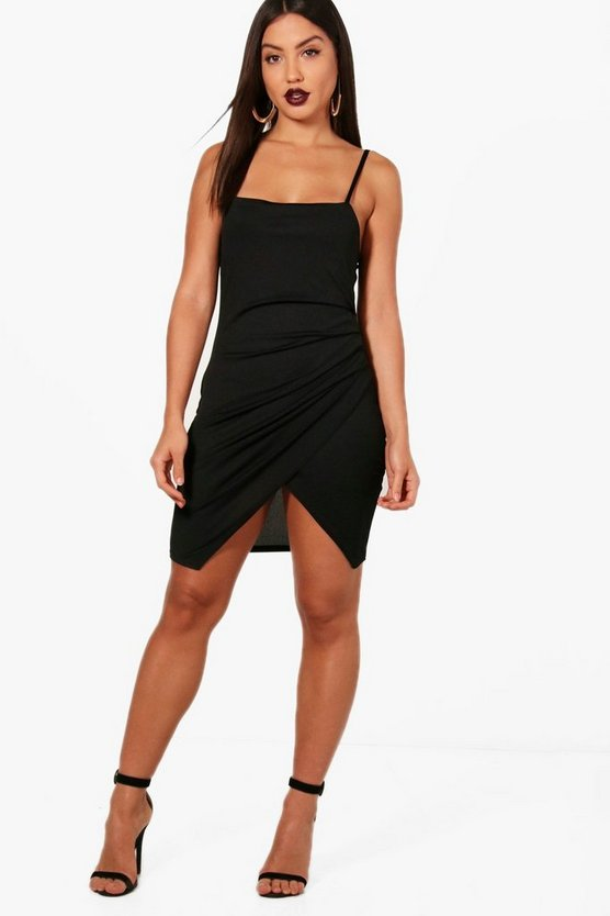 Womens Black Square Neck Wrap Bodycon Dress