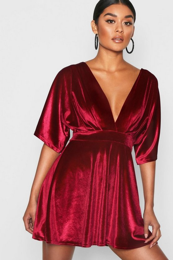Womens Berry Velvet Kimono Sleeve Skater Dress