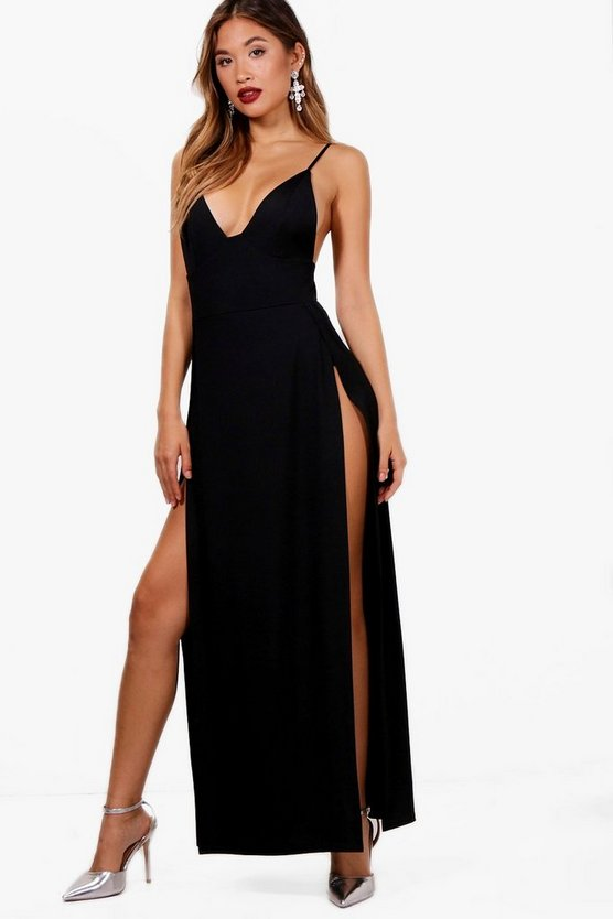 Womens Black Plunge Neck Super High Split Maxi Dress