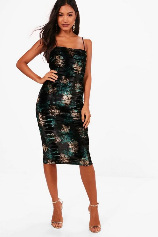 Womens Black Floral Velvet Strappy Midi Dress
