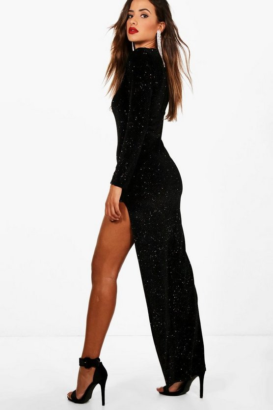 Glitter Thigh Split Maxi Dress