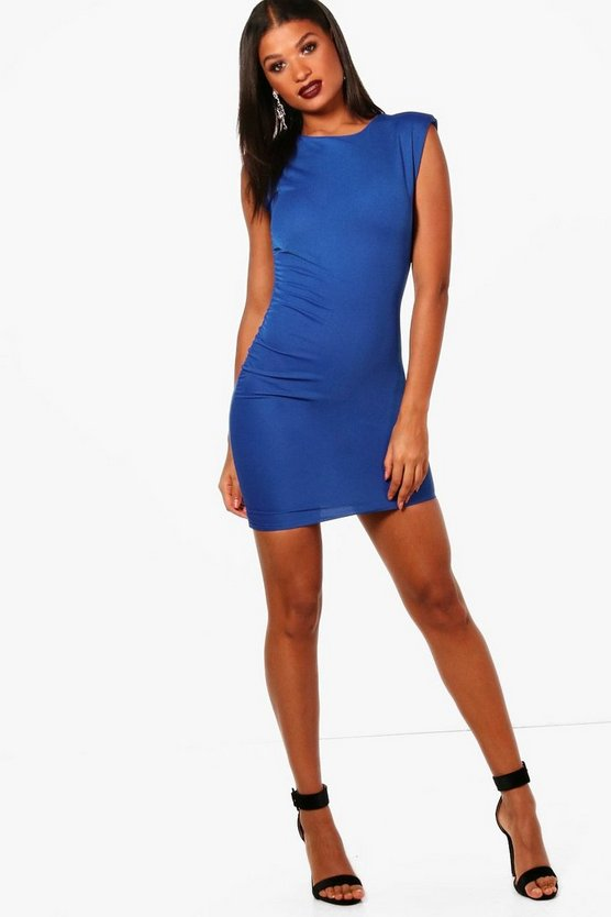 Cyra Shoulder Padded Ruched Bodycon Dress