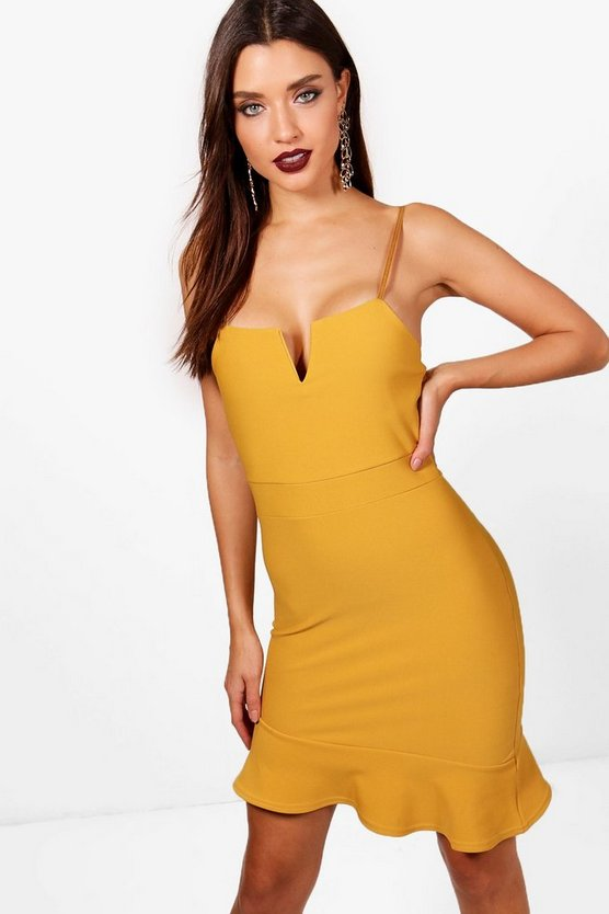 Plunge Neck Asymmetric Bodycon Dress