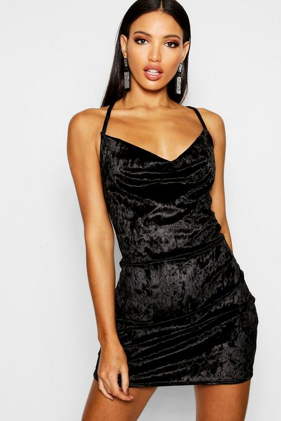 Womens Black Crushed Velvet Cowl Neck Bodycon Dress
