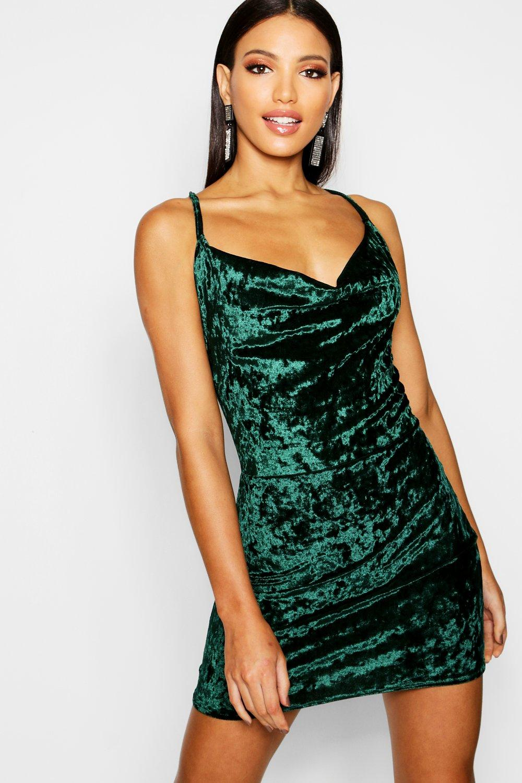 Crushed Velvet Cowl Neck Bodycon Dress