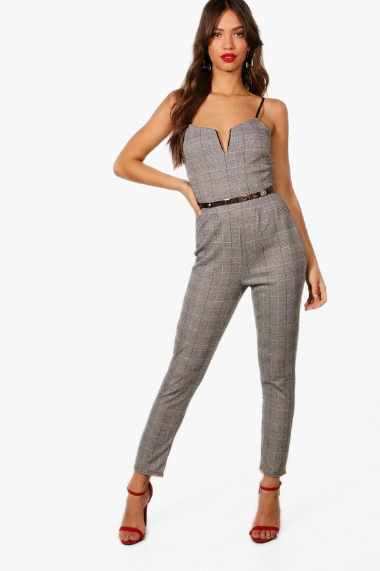 Checked Belted Jumpsuit