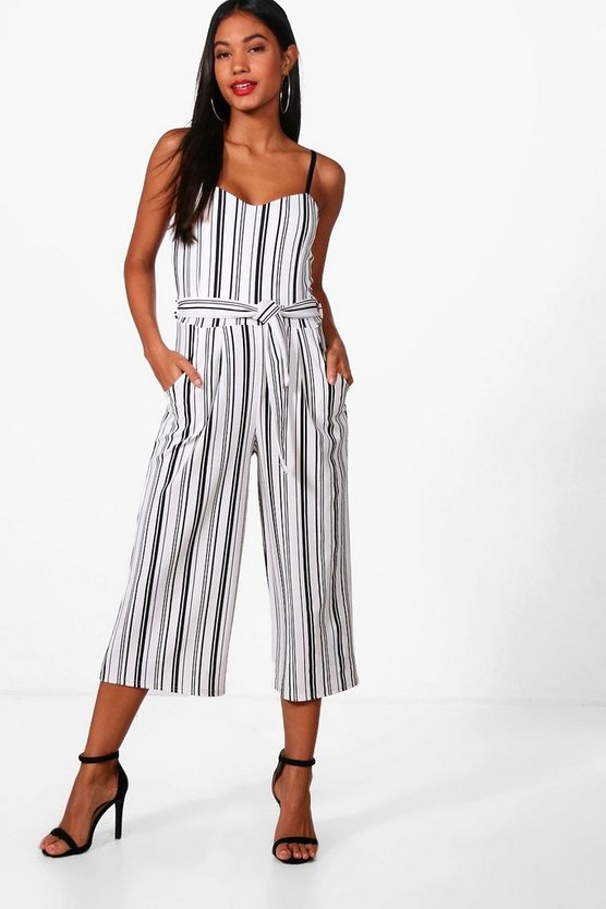 Womens White Striped Culotte Jumpsuit