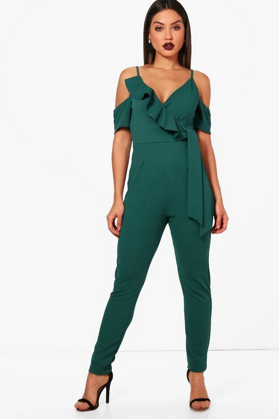 Frill Cold Shoulder Skinny Leg Jumpsuit