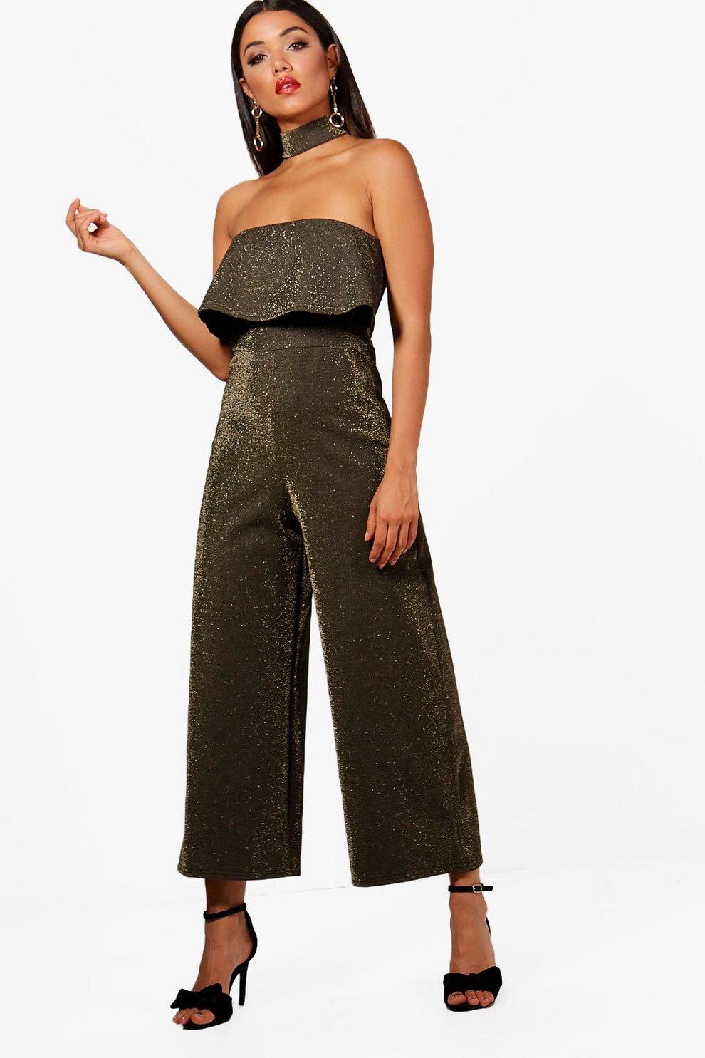 aafe250597 Choker Metallic Glitter Culotte Jumpsuit