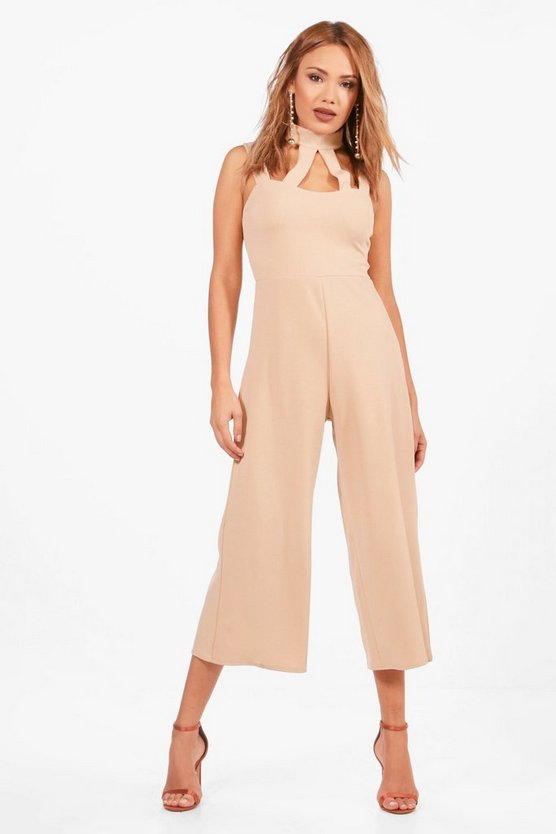 Womens Stone Choker High Neck Culotte Jumpsuit