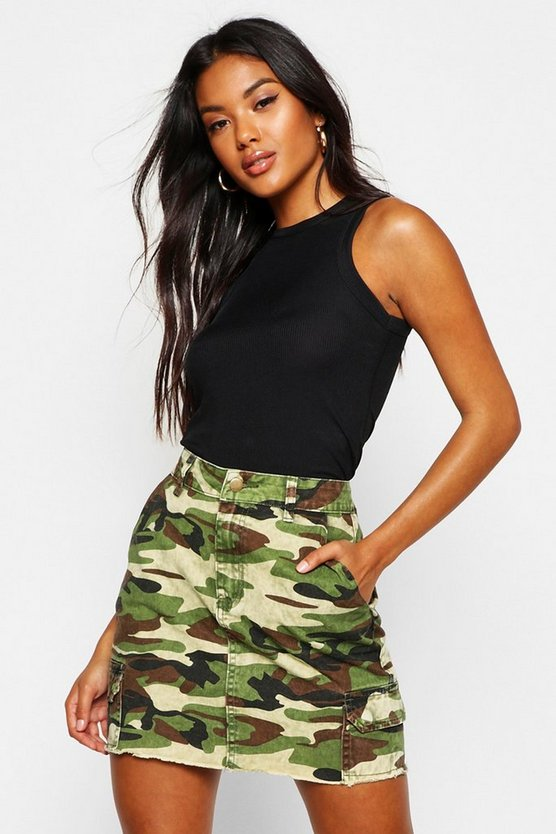 Womens Camo Print Denim Mini Skirt