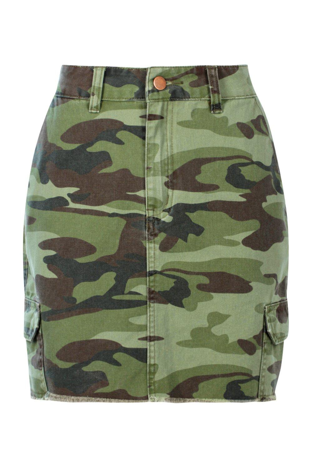 Mini Skirt Camo camo Denim Print R44nZEq