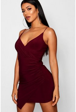 Wrap Detail Bodycon Dress, Berry