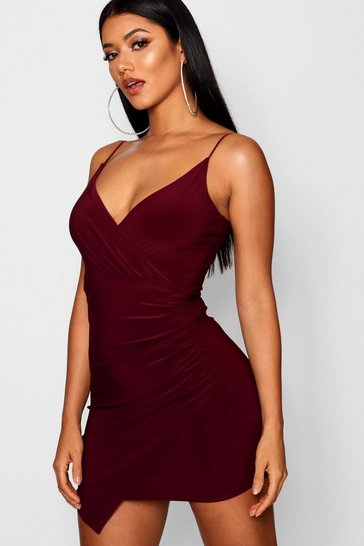 Berry Wrap Detail Bodycon Dress