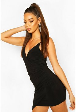 Black Wrap Detail Bodycon Dress