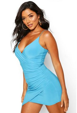 Blue Wrap Detail Bodycon Dress