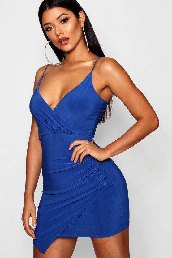 Womens Cobalt Wrap Detail Bodycon Dress