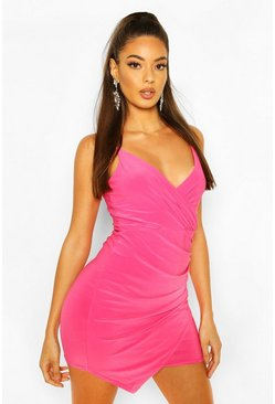 Hot pink Wrap Detail Bodycon Dress