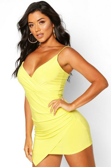 Lime Wrap Detail Bodycon Dress
