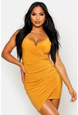 Mustard Wrap Detail Bodycon Dress