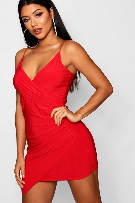 Womens Red Wrap Detail Bodycon Dress
