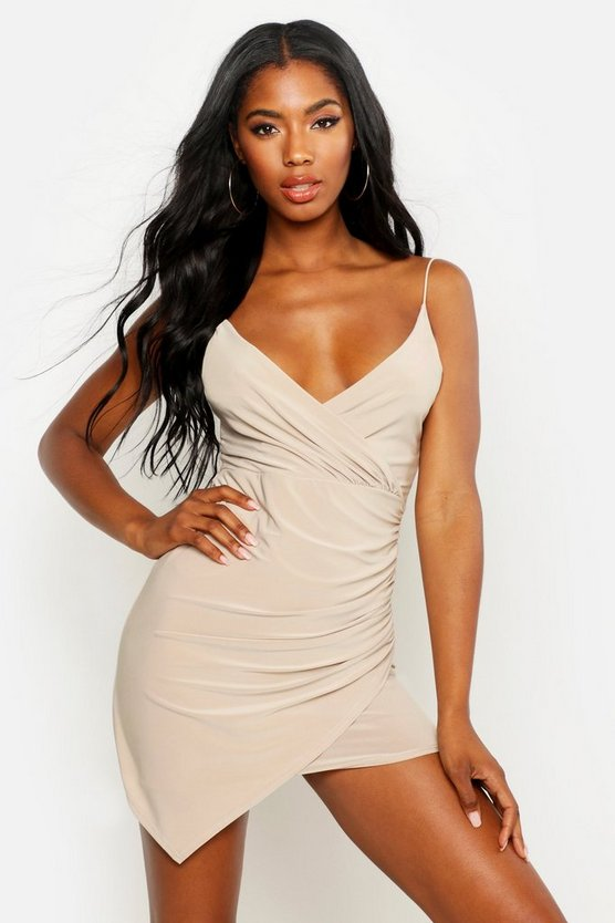 Womens Stone Wrap Detail Bodycon Dress