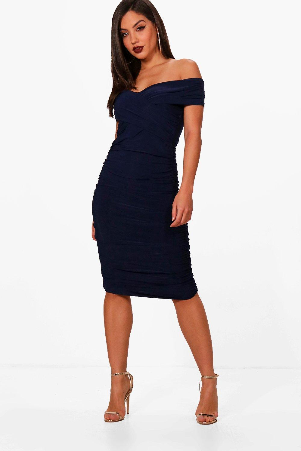 eve off the shoulder ruched detail midi dress | boohoo