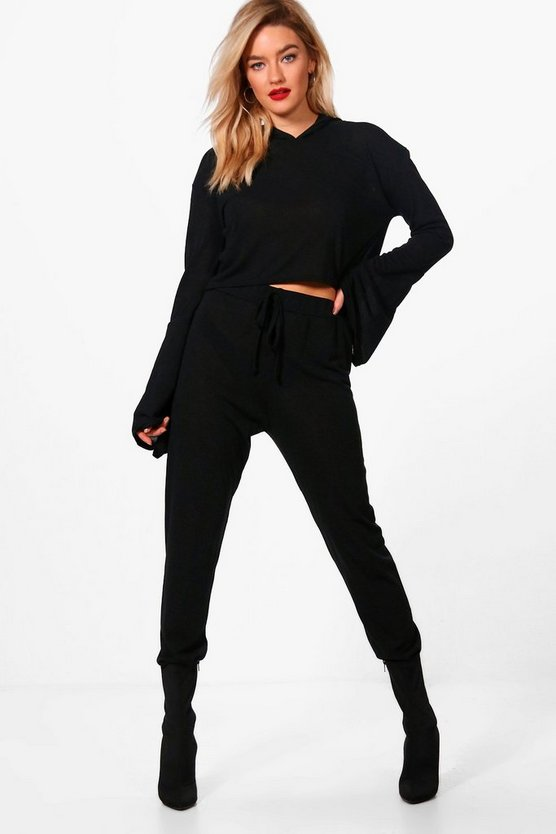 Wide Sleeve Hooded Knit Lounge Set