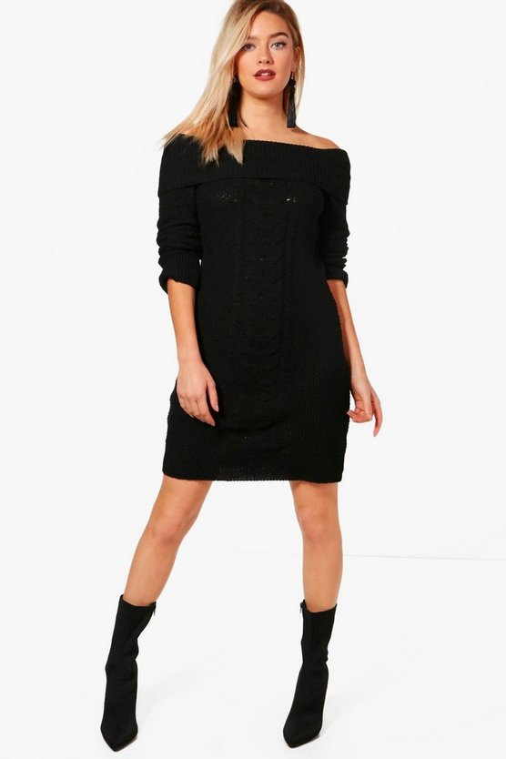 Bardot Cable Front Marl Knit Dress