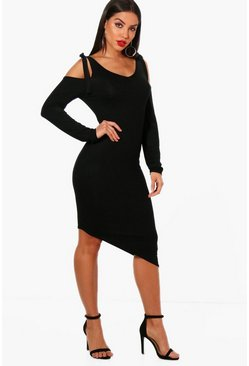 Womens Black Tie Cold Shoulder Asymmetric Hem Dress