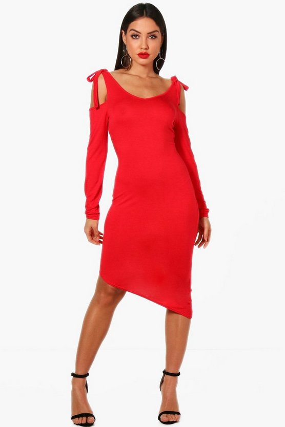 Tie Cold Shoulder Asymmetric Hem Dress
