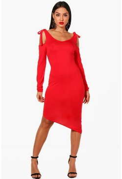 Womens Red Tie Cold Shoulder Asymmetric Hem Dress