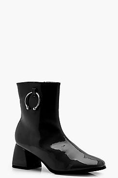 Block Heel Patent Horse Bit Trim Ankle Boots