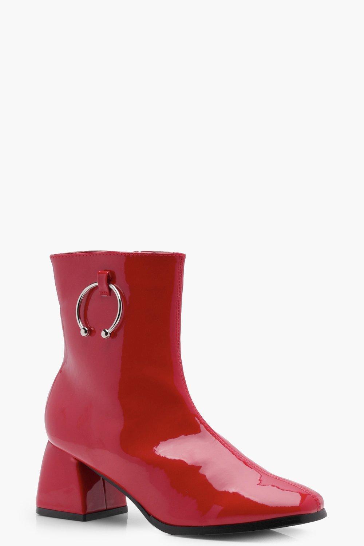 e58cede2c39 Block Heel Patent Horse Bit Trim Ankle Boots | Boohoo