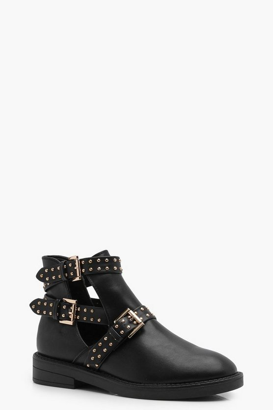 Megan Pin Stud Wrap Strap Cut Out Boots