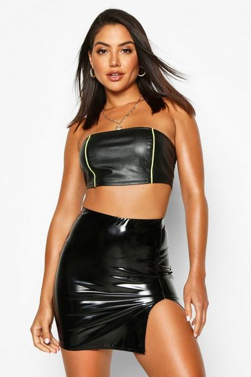 Womens Black Thigh Split Vinyl Mini Skirt