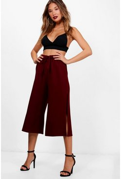 Womens Berry Side Split Tie Waist Woven Crepe Culottes