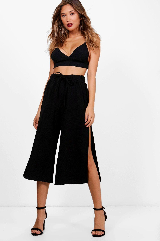 703028949e8 Boohoo Womens Side Split Tie Waist Woven Crepe Culottes in Black size 2