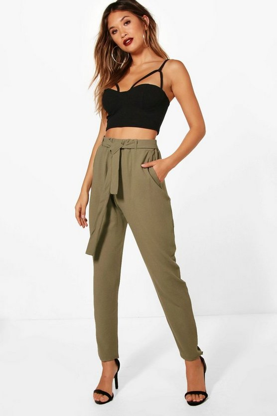 Womens Khaki Tie Waist Woven Crepe Slim Fit Trousers