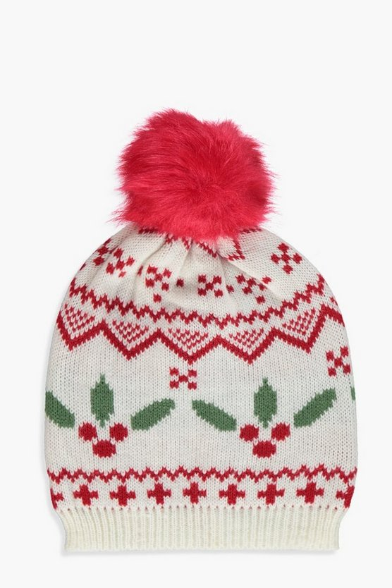 Christmas And Fairisle Knitted Beanie