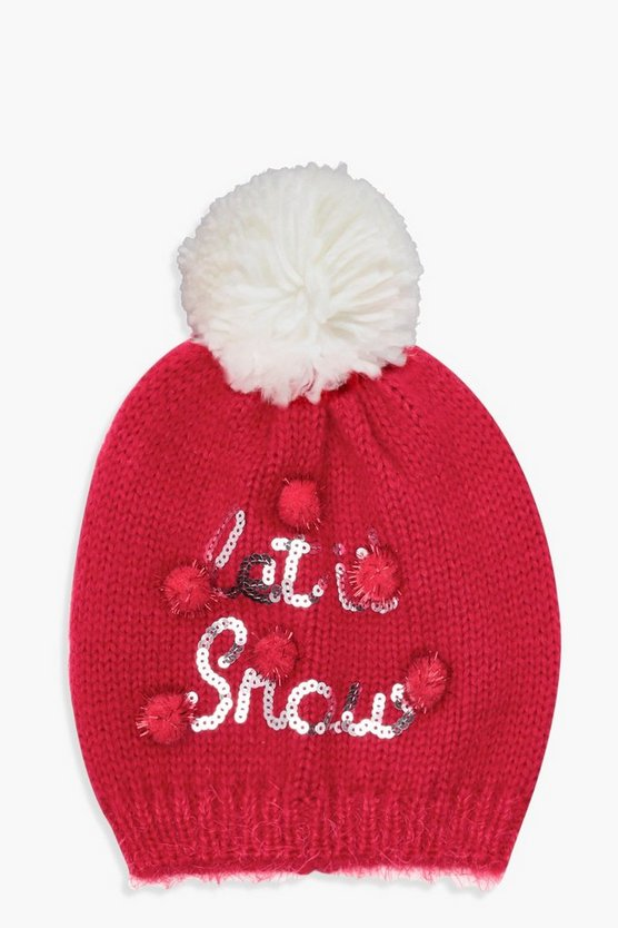 Christmas Emily Let It Snow Sequin Slogan Beanie