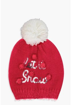 Womens Red Christmas Emily Let It Snow Sequin Slogan Beanie