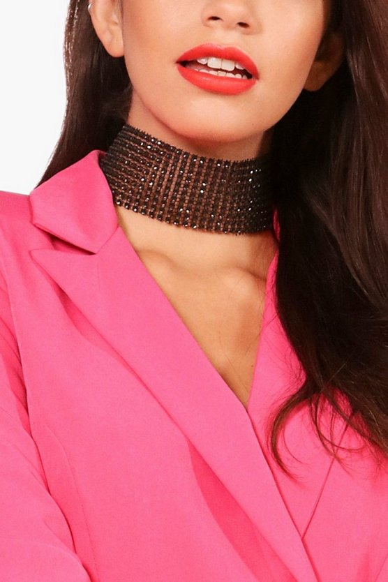 Black Amy Statement Wide Diamante Bling Choker