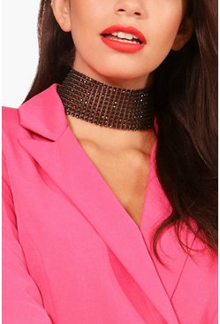 Womens Black Amy Statement Wide Diamante Bling Choker