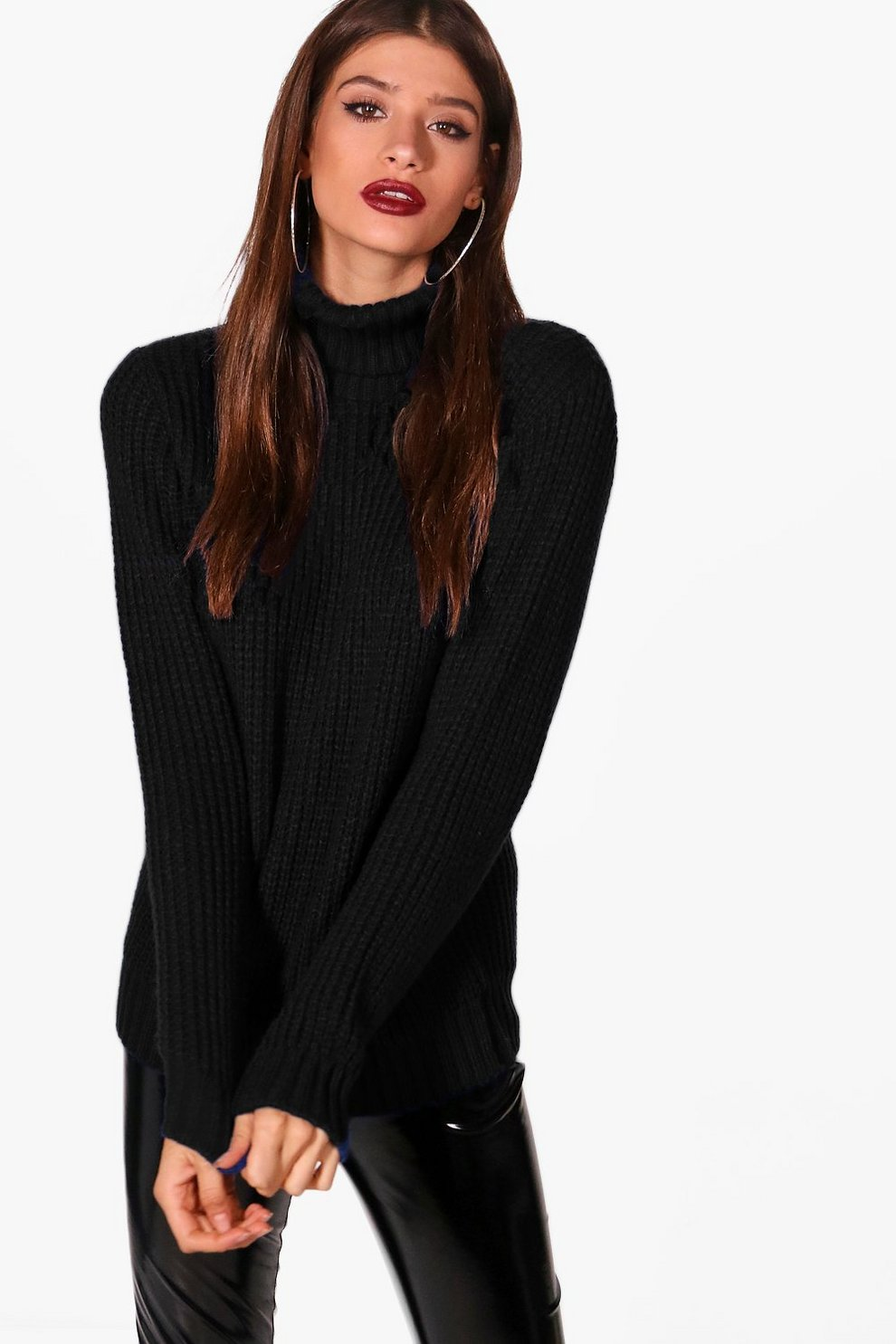 e2cc5b0e Womens Black Soft Knit Oversized Roll Neck Jumper