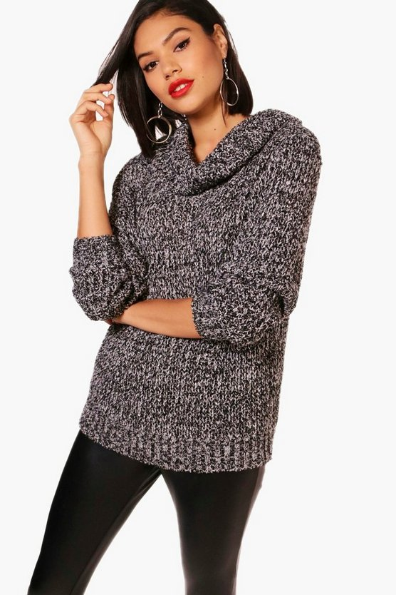Zoe Soft Knit Cowl Neck Marl Jumper