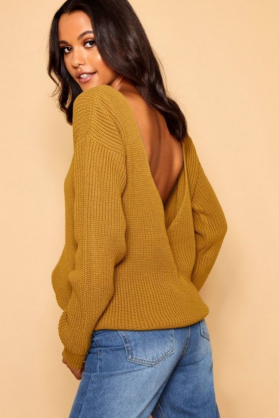 Womens Mustard V-Back Oversized Jumper