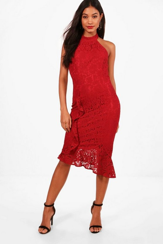 Boutique Embroidery Lace Midi Dress