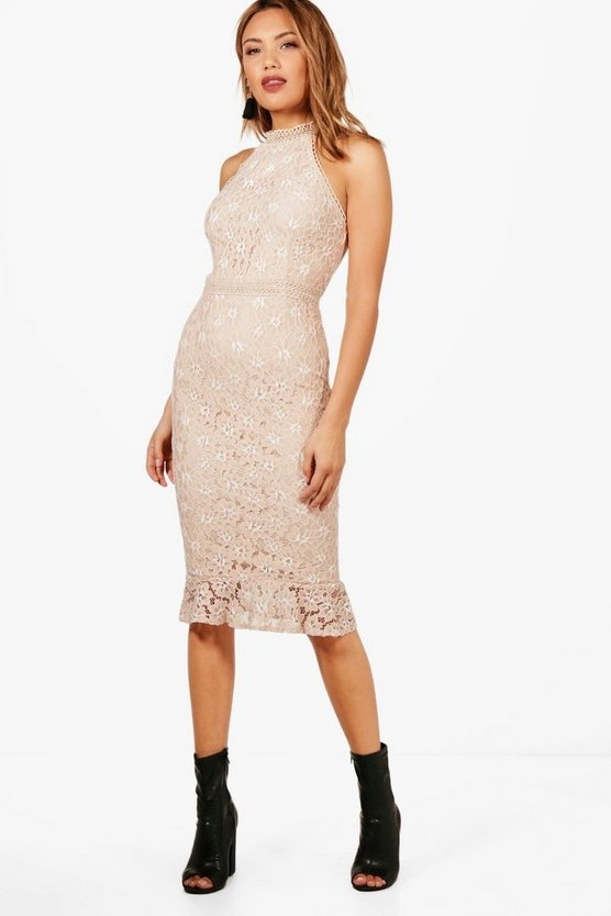 Boutique Lace Frill Hem Midi Dress