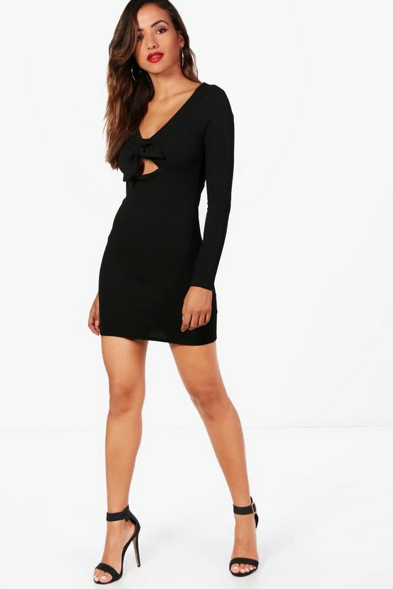 Womens Black Tie Front Detail Bodycon Dress